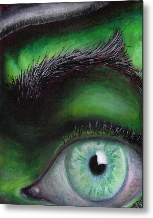 Green Eye Witch Wizard Oz Elphaba West Wicked Evil Eyebrow Metal Print featuring the painting Eye of the Beholder by Rust Dill
