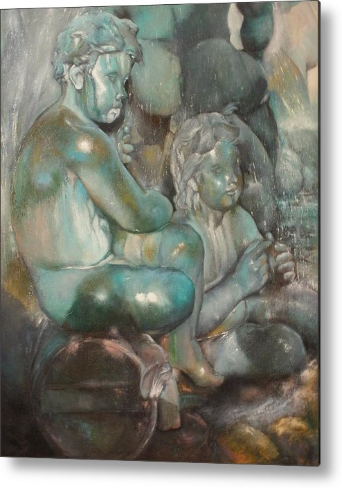 Art Fine Metal Print featuring the painting Fuente Girondins-Detalle by Tomas Castano