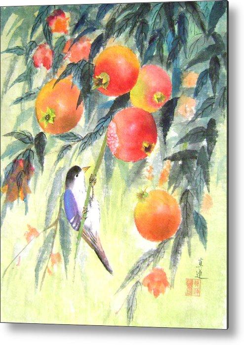Birds Metal Print featuring the painting Riping Seasons by Lian Zhen
