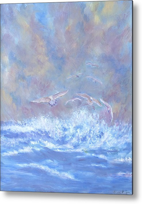 Seascape Metal Print featuring the painting Seagulls at Play by Ben Kiger