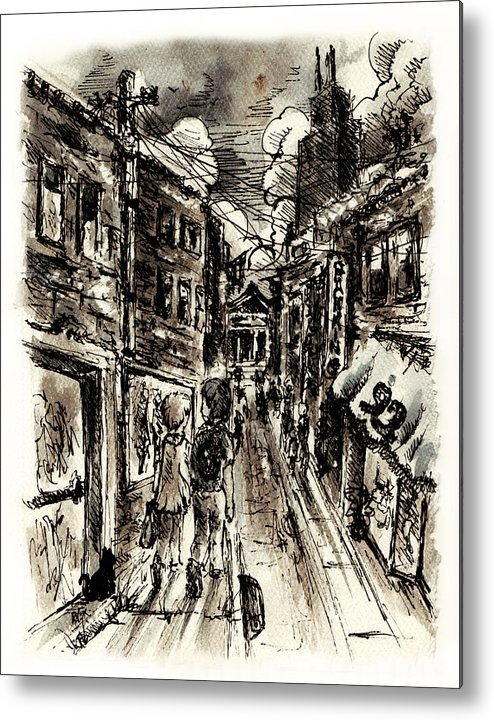 City Metal Print featuring the painting Walkin In The City by William Russell Nowicki