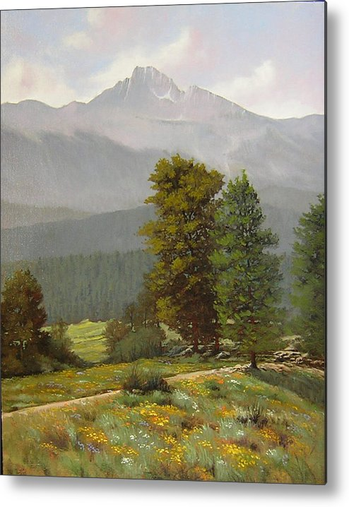 Landscape Metal Print featuring the painting 060812-1418 As Carefree As The Flowers In The Fields by Kenneth Shanika