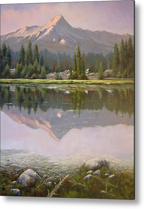 Landscape Metal Print featuring the painting 060923-2430 Reflections At Days End  by Kenneth Shanika