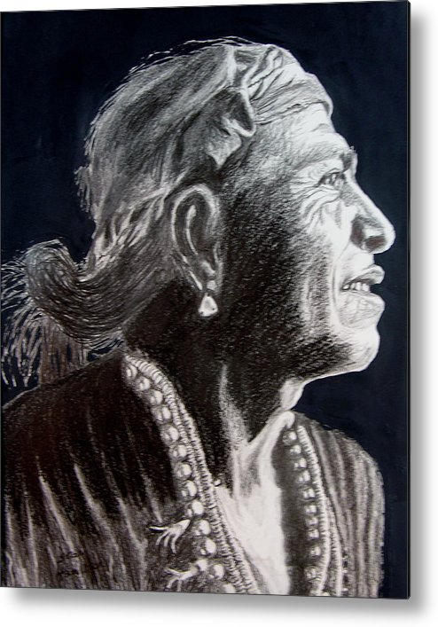 Indian Metal Print featuring the drawing Carl Moon by Stan Hamilton