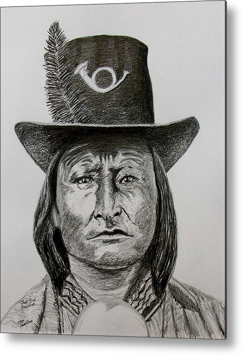 Portrait Metal Print featuring the drawing Chief Bird Arapahoe by Stan Hamilton