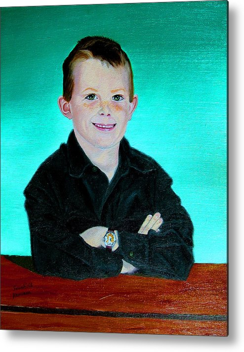 Child Portrait Metal Print featuring the painting CJ by Stan Hamilton