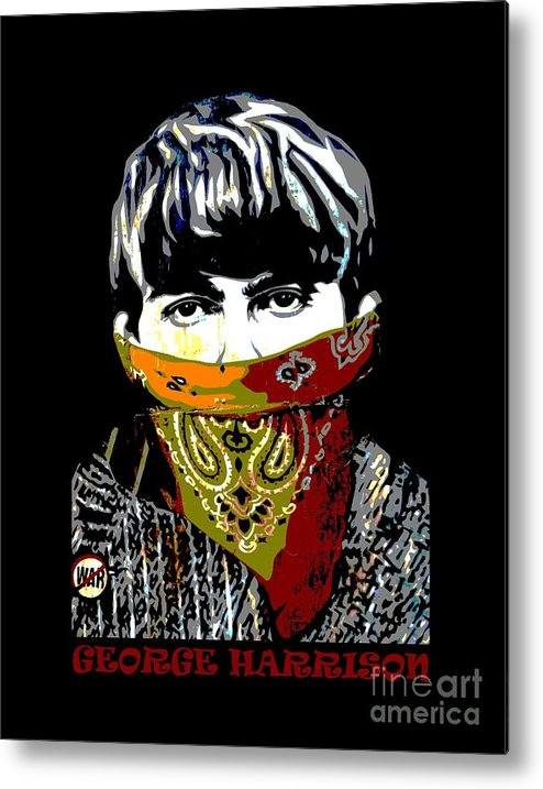 Banksy Metal Print featuring the photograph George Harrison wearing a face mask by RicardMN Photography