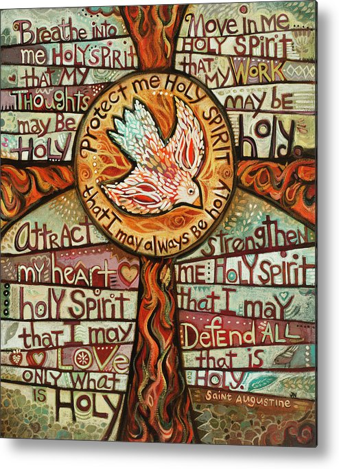 Jen Norton Metal Print featuring the painting Holy Spirit Prayer by St. Augustine by Jen Norton