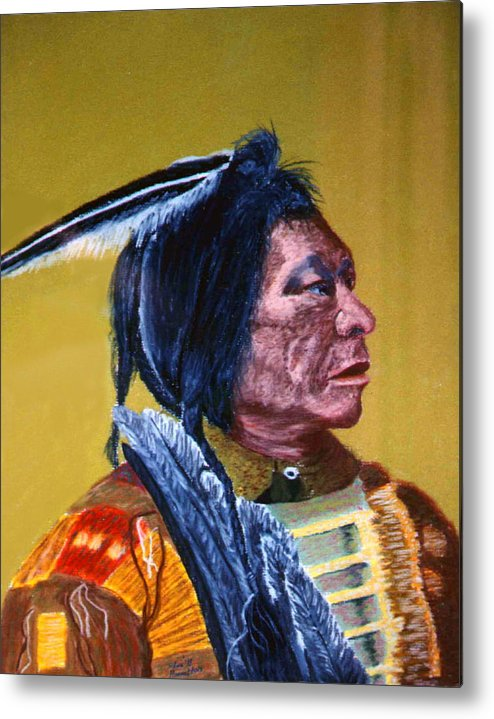 Indian Metal Print featuring the painting Indian Scout by Stan Hamilton
