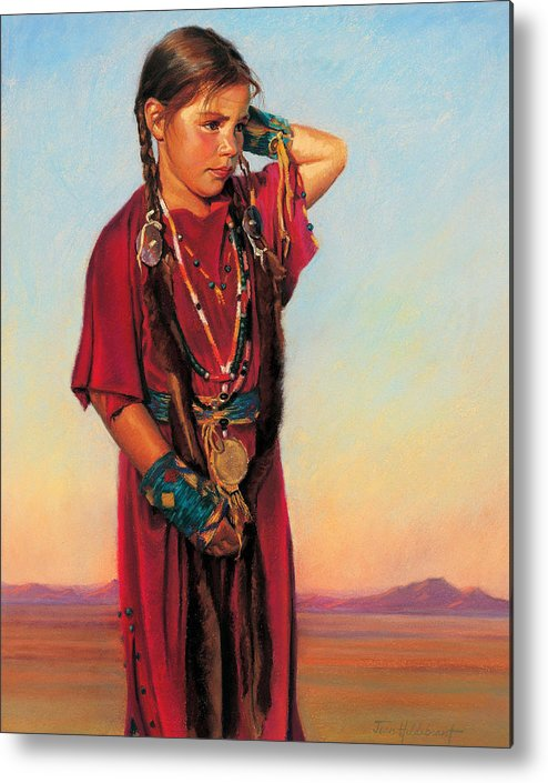 American Indian Metal Print featuring the painting Little American Beauty I by Jean Hildebrant