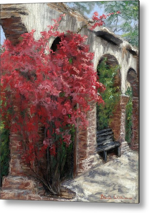 Mission Metal Print featuring the painting Mission Arches by Brenda Williams