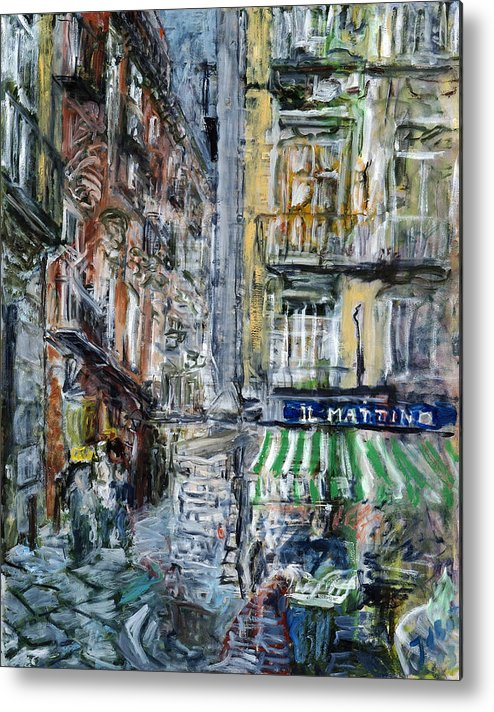 Cityscape Naples Italy Kiosk Alley Way Newspapers Metal Print featuring the painting Naples Kiosk by Joan De Bot