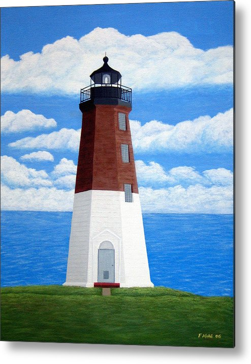 Lighthouse Paintings Metal Print featuring the painting Point Judith Lighthouse by Frederic Kohli