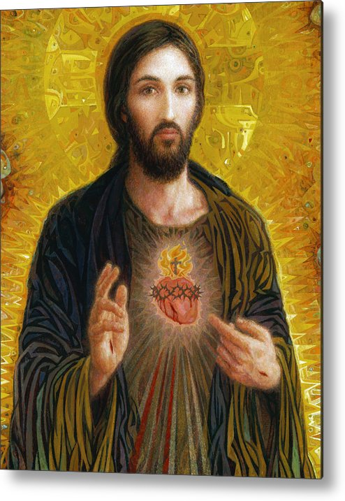 Christ Metal Print featuring the painting Sacred Heart of Jesus by Smith Catholic Art