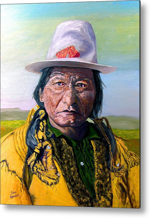 Original Oil On Canvas Metal Print featuring the painting Sitting Bull by Stan Hamilton