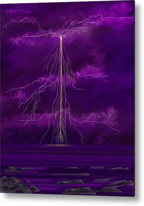 Lightning Storm Metal Print featuring the painting Tesla by Anne Norskog