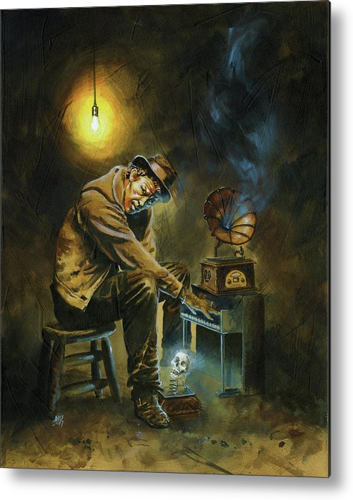 Tom Waits Metal Print featuring the painting Tom Waits by Ken Meyer jr