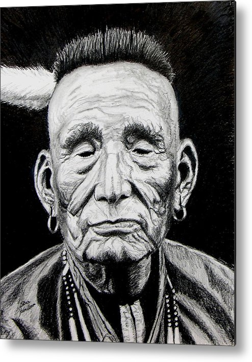 Indian Metal Print featuring the drawing Unknown Indian by Stan Hamilton