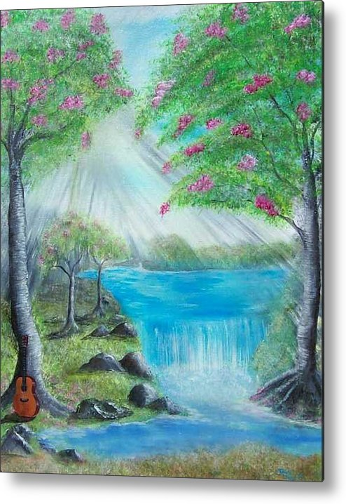 Guitar Metal Print featuring the painting Waterfall by Tony Rodriguez