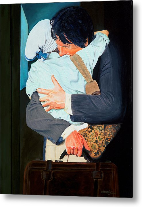 Man Metal Print featuring the painting Goodbye at the Station by JoeRay Kelley