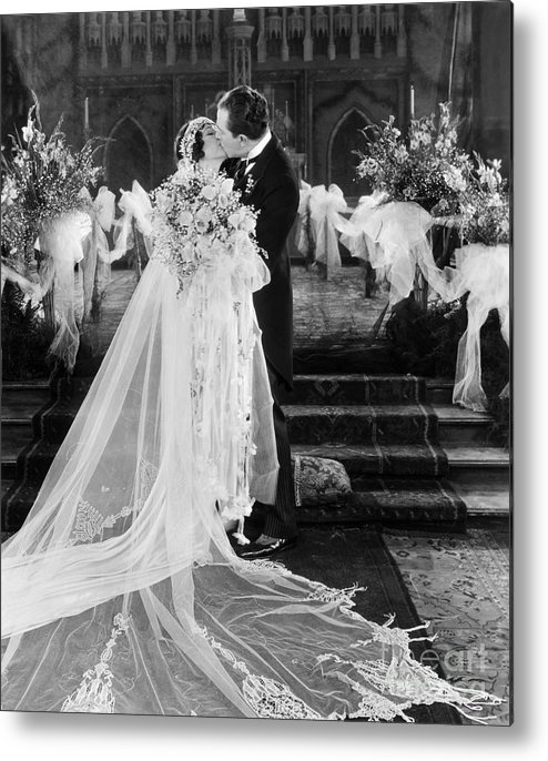 -weddings & Gowns- Metal Print featuring the photograph Silent Film Still: Wedding by Granger