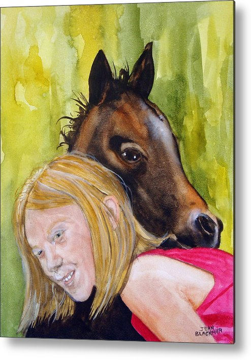 Equine Metal Print featuring the painting A Little Girl's Fancy by Jean Blackmer