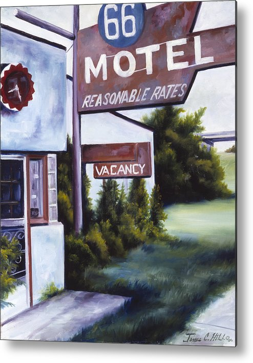 Motel; Route 66; Desert; Abandoned; Delapidated; Lost; Highway; Route 66; Road; Vacancy; Run-down; Building; Old Signage; Nastalgia; Vintage; James Christopher Hill; Jameshillgallery.com; Foliage; Sky; Realism; Oils Metal Print featuring the painting A Road Less Traveled by James Christopher Hill