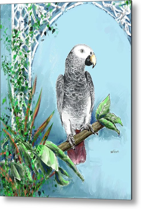 Birds Metal Print featuring the digital art African Grey Parrot by Arline Wagner