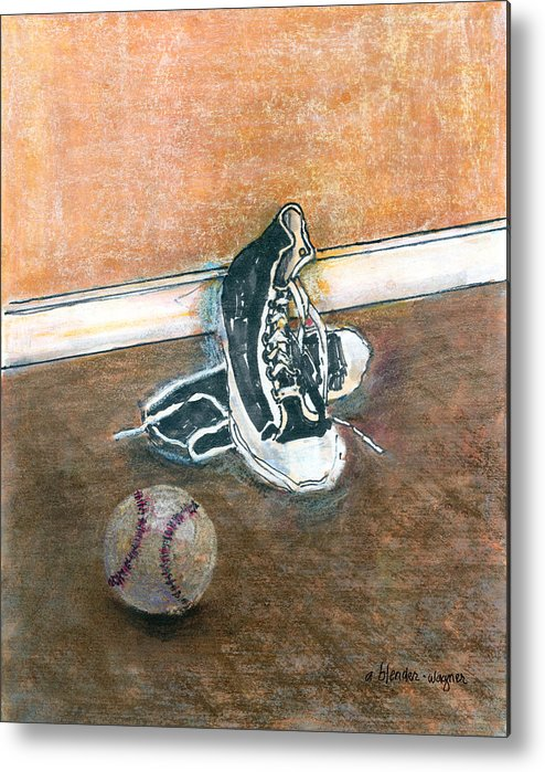 Tennis Shoes Metal Print featuring the mixed media After The Game by Suzanne Blender