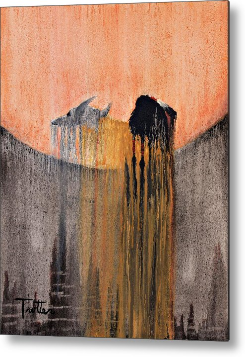 Art Metal Print featuring the painting Ancient Paryer by Patrick Trotter