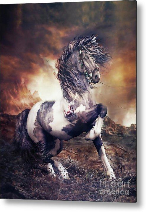 Apache War Horse Metal Print featuring the digital art Apache War Horse by Shanina Conway
