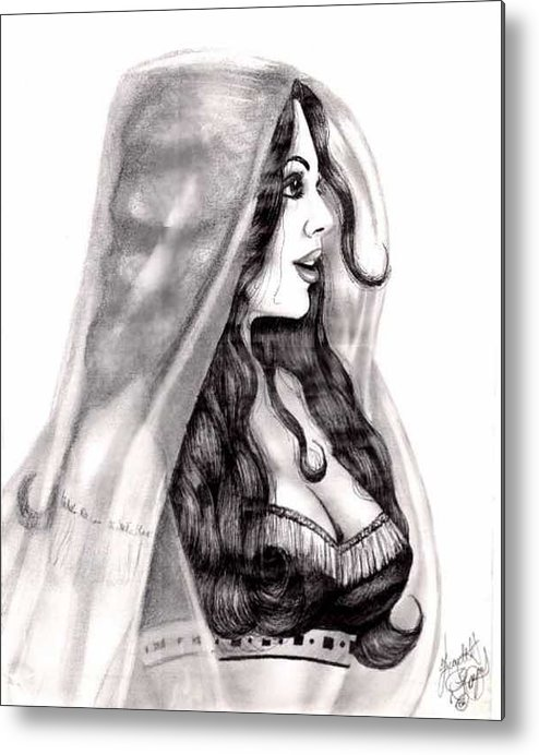 Figure Metal Print featuring the drawing Arabian Beauty by Scarlett Royal