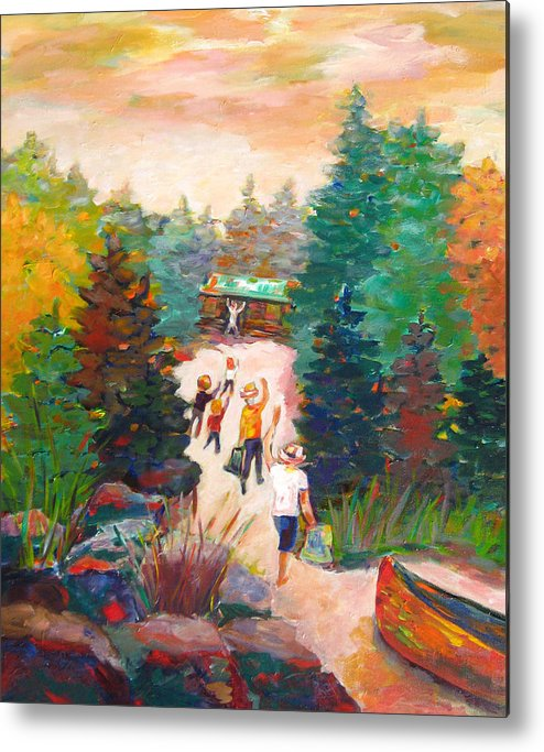 Visiting A Wilderness Cabin With Family On The Lake With A Canoe Is Just Plain Fun! Metal Print featuring the painting Arrivals by Naomi Gerrard
