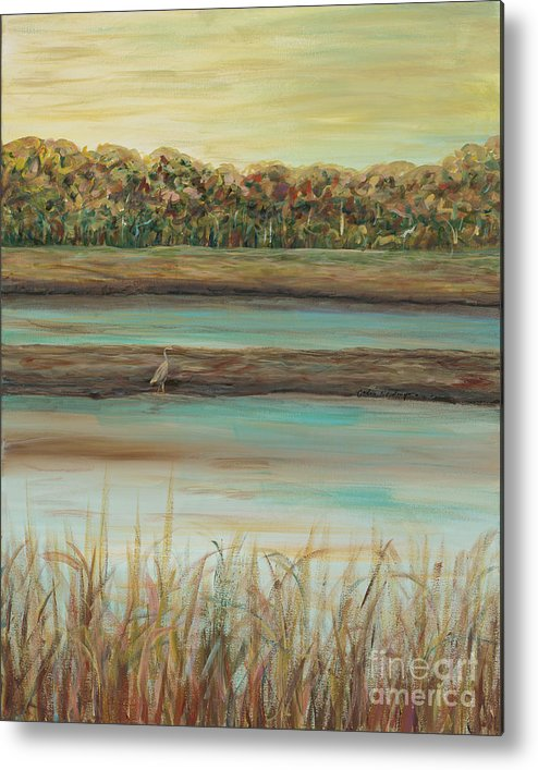 Bird Metal Print featuring the painting Autumn Marsh and Bird by Nadine Rippelmeyer