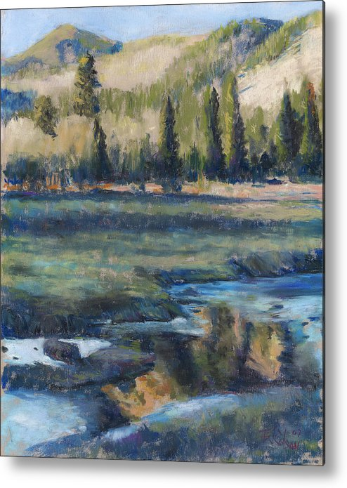 Partly Frozen River In The Rockies Metal Print featuring the painting Autumn Reflections by Billie Colson