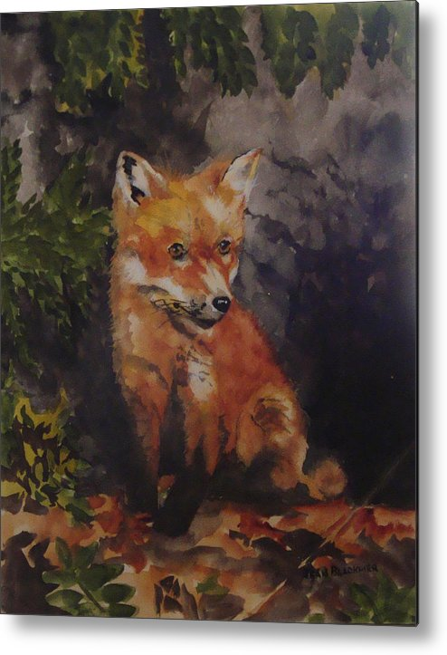 Fox Metal Print featuring the painting Babe In The Woods by Jean Blackmer