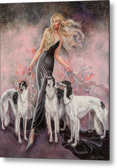 Barbara Tyler Ahlfield Metal Print featuring the painting Babs with Three Borzois by Barbara Tyler Ahlfield