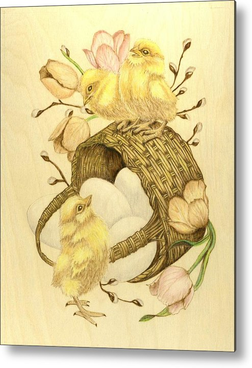Chicks Metal Print featuring the pyrography Baby Chicks by Danette Smith
