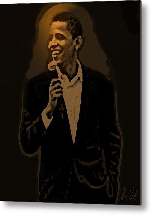 Barack Metal Print featuring the digital art Barack Obama by Helmut Rottler