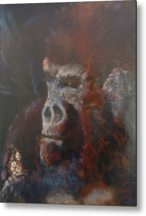 Primates Metal Print featuring the painting Beauty and the Beast by Bryan Alexander