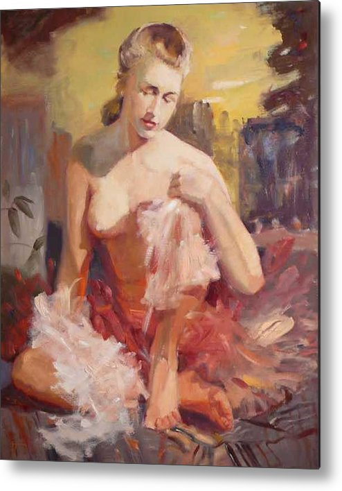 A Seated Figure Of A Pensive Delicate Girl In A Contemporary Ballet Attire Metal Print featuring the painting sold Before Dance by Irena Jablonski