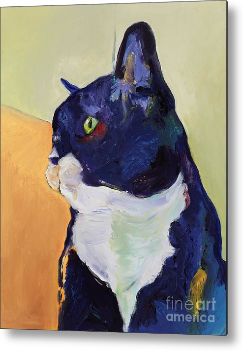 Cat Portrait Metal Print featuring the painting Bird Watcher by Pat Saunders-White