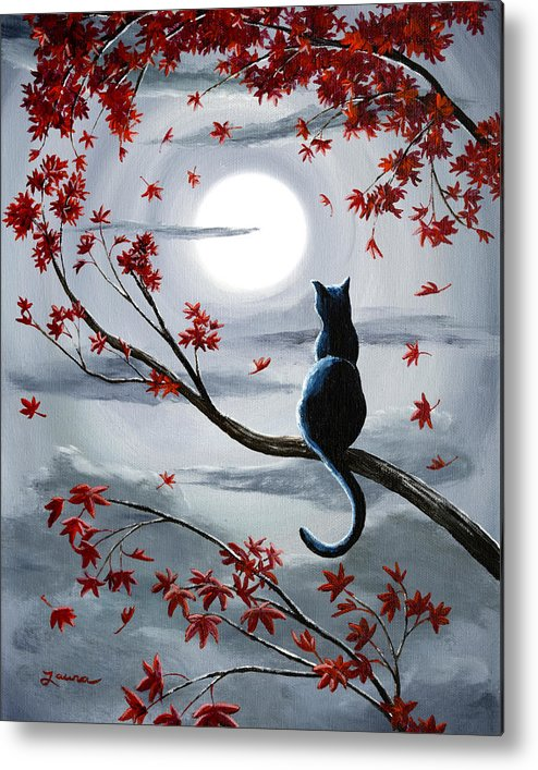 Zen Metal Print featuring the painting Black Cat in Silvery Moonlight by Laura Iverson