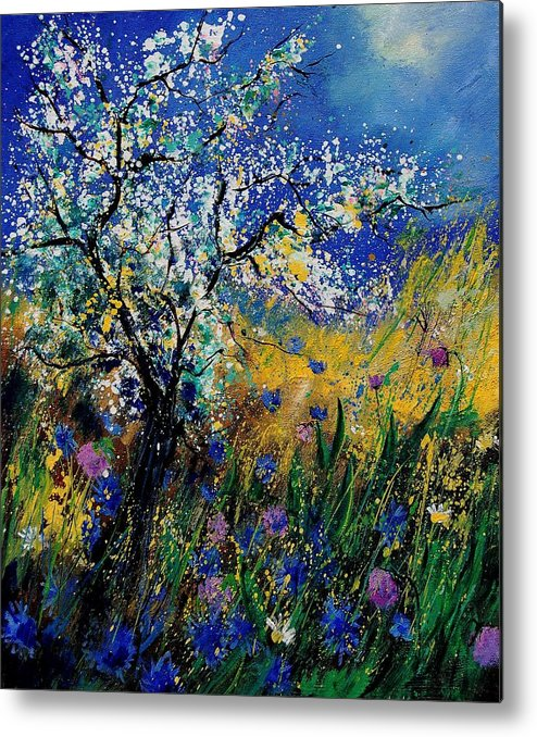 Spring Metal Print featuring the painting Blooming appletree by Pol Ledent
