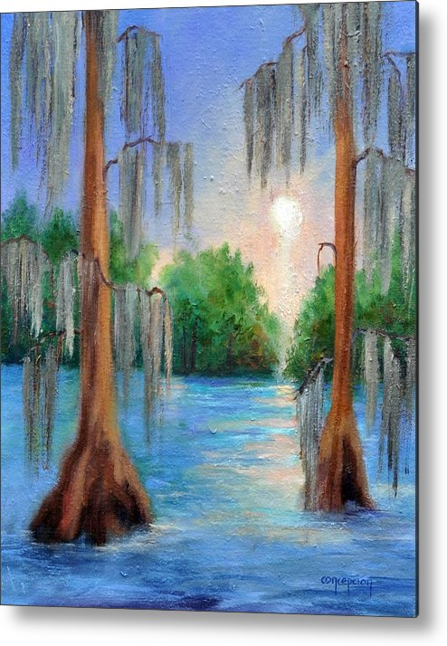 Bayou Landscape Metal Print featuring the painting Blue Bayou by Ginger Concepcion
