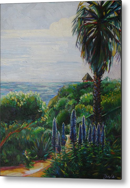 Beach Metal Print featuring the painting Blue Flowers by Karen Doyle