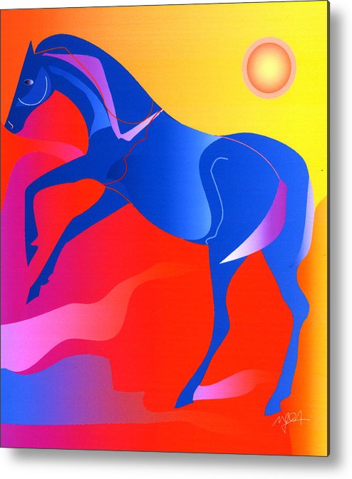 Horse Metal Print featuring the digital art Blue Horse by Mary Armstrong