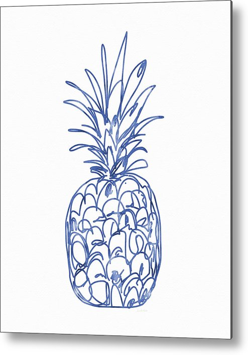 Pineapple Metal Print featuring the painting Blue Pineapple- Art by Linda Woods by Linda Woods