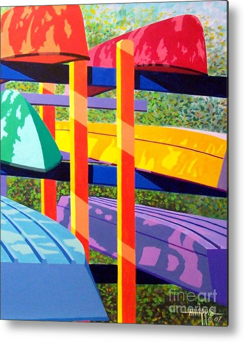 Sunlight Metal Print featuring the painting Boat Rack by Hugh Harris