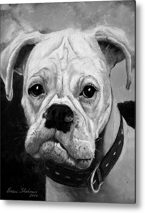 Boxer Metal Print featuring the painting Boo the Boxer by Portraits By NC